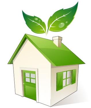 Casetta verde con foglie